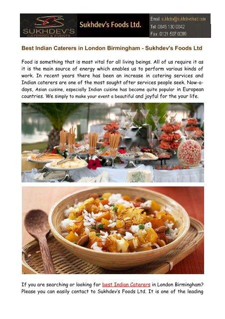 Best Indian Caterers in London Birmingham - Sukhdev's Foods Ltd