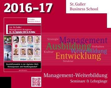 """SGBS """"Management-Weiterbildung Seminare & Lehrgänge 2016-17"""""""