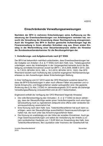 Einschränkende Verwaltungsanweisungen - Inventa