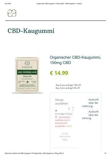 Organischer CBD-Kaugummi, 150mg CBD - CBD-Kaugummi - Endoca