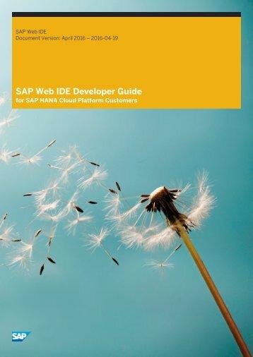 SAP Web IDE Developer Guide