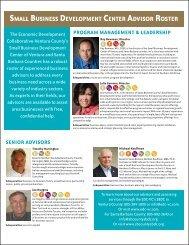 Small Business Development Center Advisor Roster