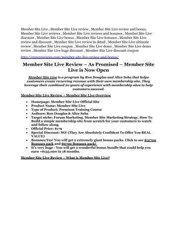Member Site Live review - Member Site Live (MEGA) $23,800 bonuses