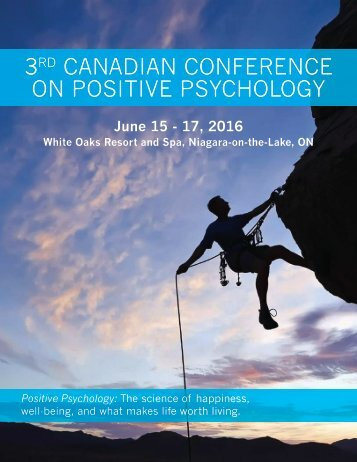 3 CANADIAN CONFERENCE ON POSITIVE PSYCHOLOGY