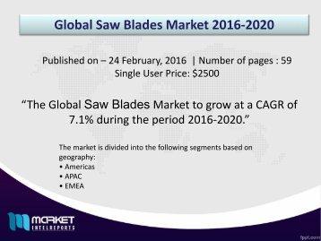 Strategic Analysis on Global Saw Blades Market Forecast to 2020