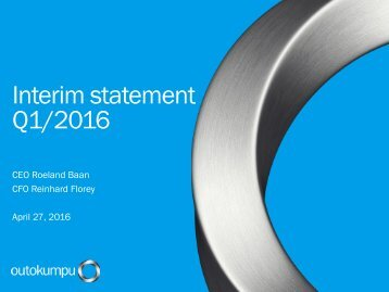 Interim statement Q1/2016