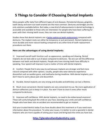 5 Things to Consider if Choosing Dental Implants