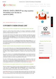 Email and Mailing list of Coverity Users
