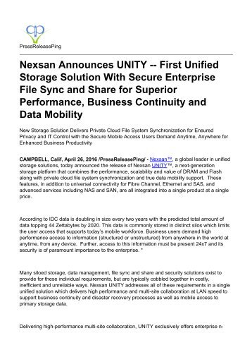 Nexsan Announces UNITY -- First Unified Storage Solution With Secure Enterprise File Sync and Share for Superior Performance, Business Continuity and Data Mobility