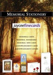 Jayceefinecards Memorial Cards Catalogue