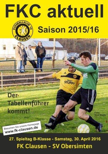 FKC Aktuell - 27. Spieltag - Saison 2015/2016