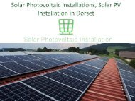 Solar Photovoltaic installations, Solar PV Installation in Dorset