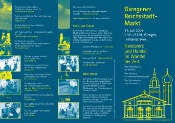 Schwerpunktthema - Giengener Reichsstadt-Markt