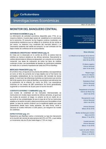 MONITOR DEL BANQUERO CENTRAL