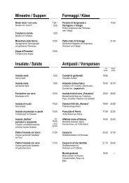 Minestre / Suppen Formaggi / Käse Insalate / Salate Antipasti ...