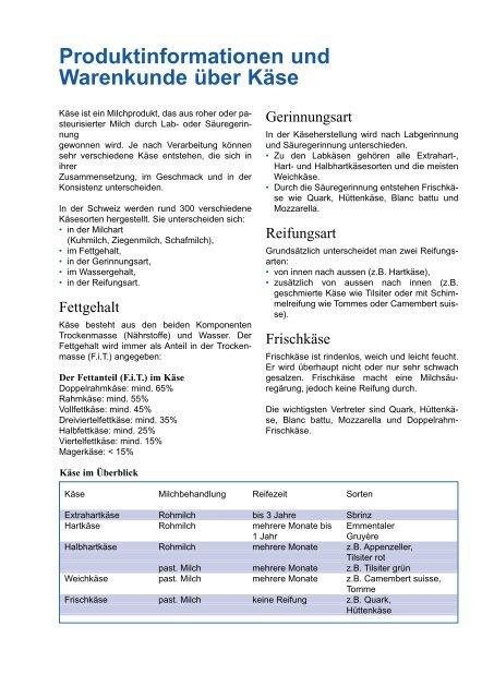 Produktinformationen und Warenkunde über Käse