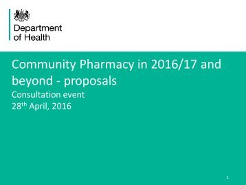 Community Pharmacy in 2016/17 and beyond - proposals