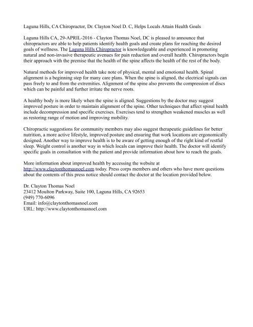 Laguna Hills, CA Chiropractor, Dr. Clayton Noel D. C, Helps Locals Attain Health Goals