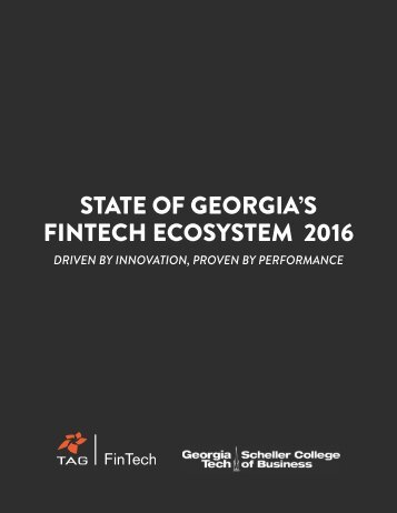 STATE OF GEORGIA'S FINTECH ECOSYSTEM 2016