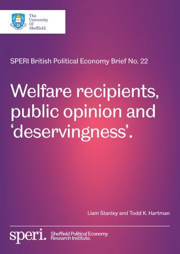 Welfare recipients public opinion and 'deservingness'