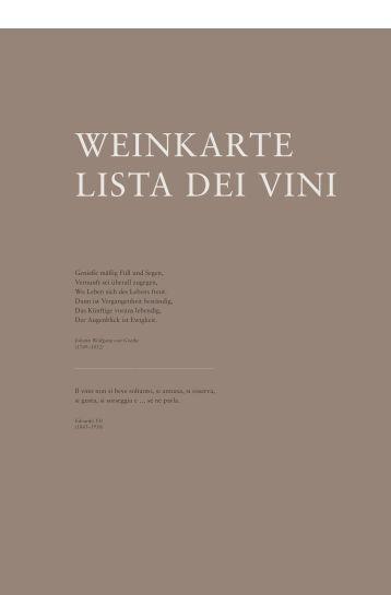 Weinkarte Hotel Abinea 4* in Kastelruth-Südtirol