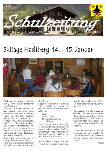 6. Klasse Guttannen Jahrgang 3 Ausgabe 18 Skitage Hasliberg 14.