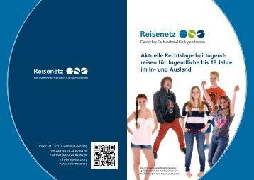 Reisenetz Broschüre Aufsichtspflicht bei Jugendreisen
