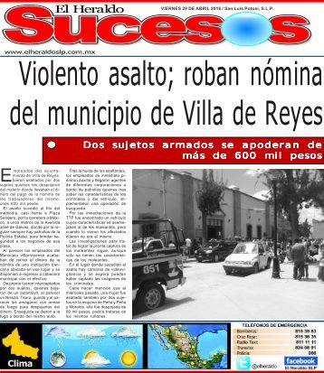 Violento asalto roban nómina del municipio de Villa de Reyes