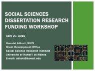 SOCIAL SCIENCES DISSERTATION RESEARCH FUNDING WORKSHOP