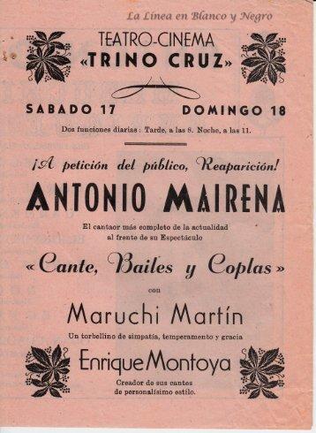 Reaparicion de Antonio Mairena - Cante Bailes y Coplas