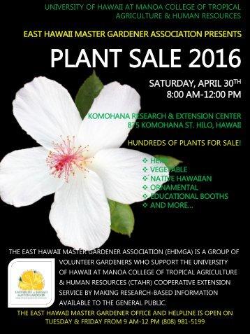PLANT SALE 2016