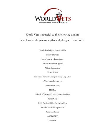 2011 Donor List - World Vets