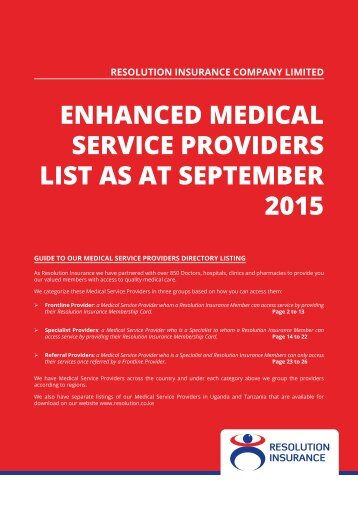 Enhanced Medical Service providerS List as at SEPTEMBER 2015