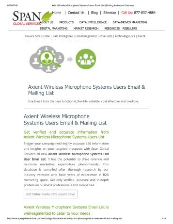 Buy Axient Wireless Microphone System User Lists from Span Global Services