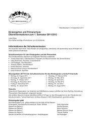 Elterninformationen zum 1. Semester 2011/2012 - Primarschule