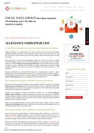 Email Marketing List of Allegiance Users and Customers