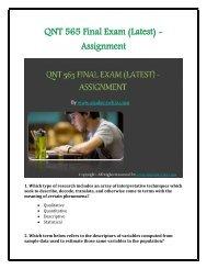 QNT 565 Final Exam (Latest) - Assignment