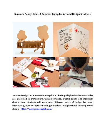 Summer Design Lab – A Summer Camp for Art and Design Students