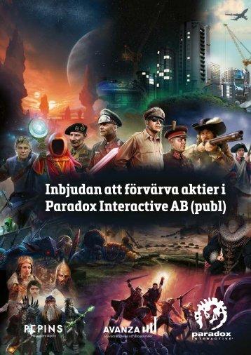 Inbjudan att förvärva aktier i Paradox Interactive AB (publ)