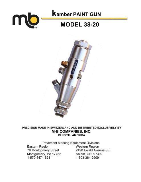 kamber PAINT GUN MODEL 38-20 - M-B Companies, Inc