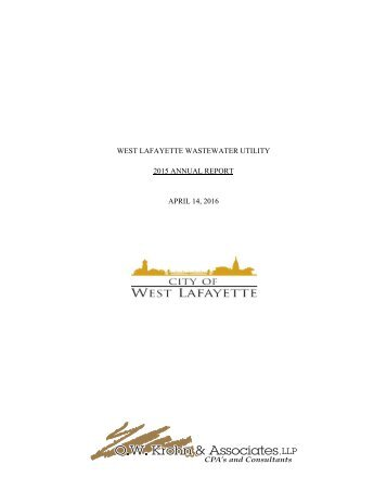 WEST LAFAYETTE WASTEWATER UTILITY 2015 ANNUAL REPORT APRIL 14 2016