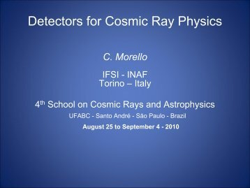 Detectors for CR Physics - 4th School on Cosmic Rays and ...