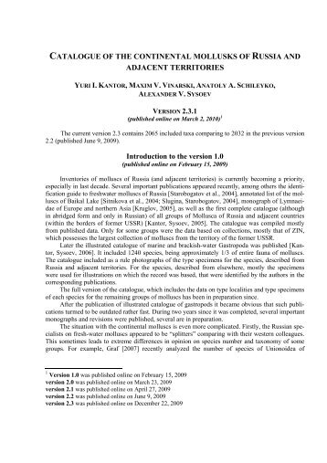 catalogue of the continental mollusks of russia and