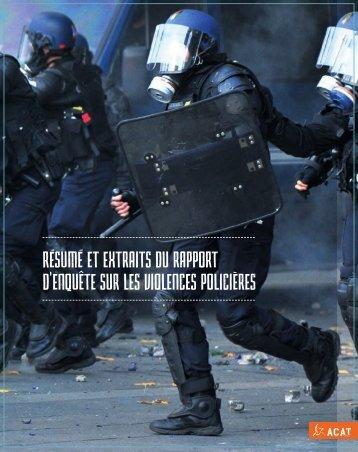 RÉSUMÉ ET EXTRAITS DU RAPPORT D'ENQUÊTE SUR LES VIOLENCES POLICIÈRES