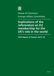 Implications of the referendum on EU membership for the UK's role in the world