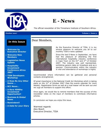 E - News - Vacation Ownership Association of South Africa