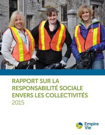 RAPPORT SUR LA RESPONSABILITÉ SOCIALE ENVERS LES COLLECTIVITÉS 2015