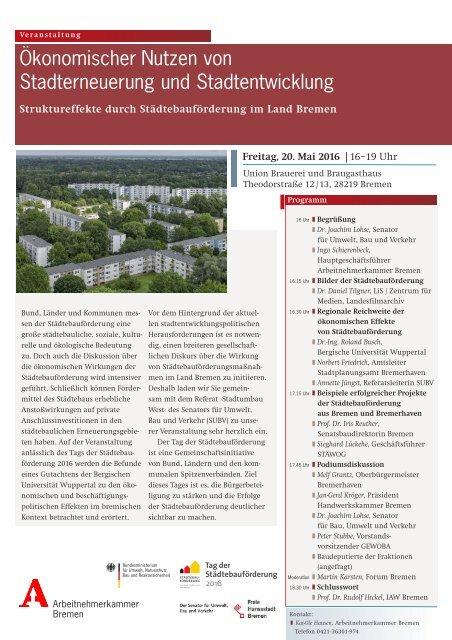 Ökonomischer Nutzen von Stadterneuerung Einladung