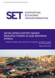 DEVELOPING EXPORT-BASED MANUFACTURING IN SUB-SAHARAN AFRICA