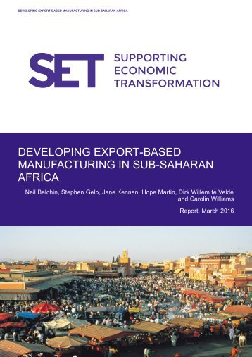 DEVELOPING EXPORT-BASED MANUFACTURING IN SUB-SAHARAN AFRICA